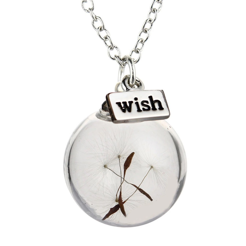 Silver Plated Dandelion Seed Pendant