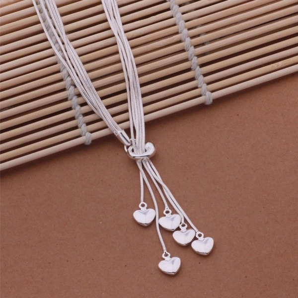 Silver Heart Layered Necklace
