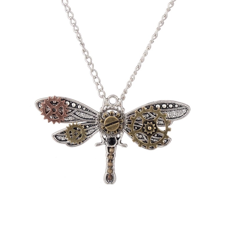 Silver Steampunk Dragonfly Pendant